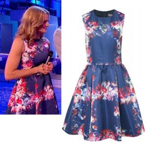 Where did Gabby Logan get her dress from on Splash 4/01/14? - Style on Screen