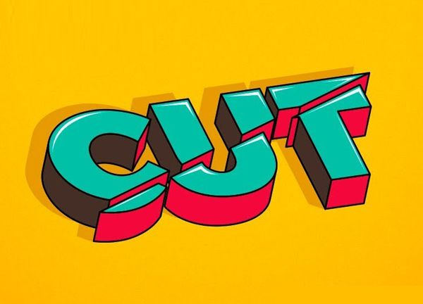 This design is creative because it is the word cut that has a cut through it. #identity