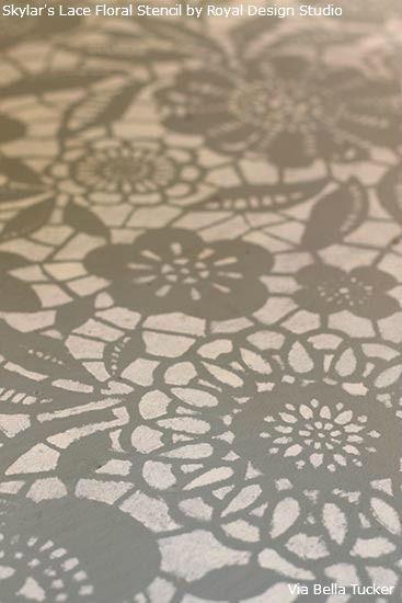 Lace Stencil Floor Transformation