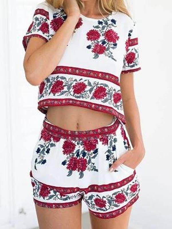 Conjunto Cropped e Short Floral - Compre Online | DMS Boutique