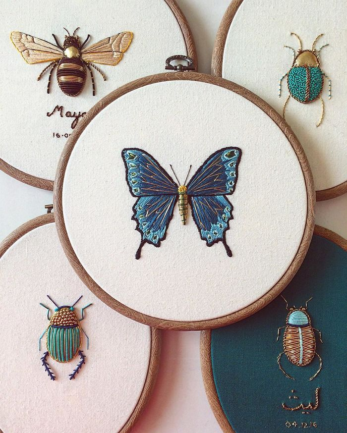 The influence of the natural creation is woven through a lot of my work. I like to incorporate iridescent materials such as gold leather, metals, beads and silks in my embroideries that are inspired by entomology and botanical illustrations.