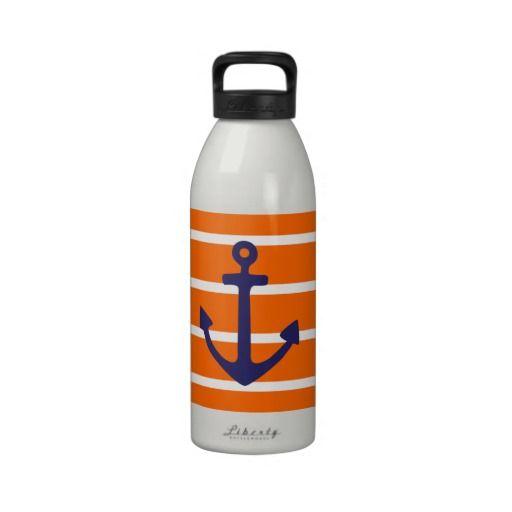 Navy Anchor on Orange Stripe Drinking Bottle