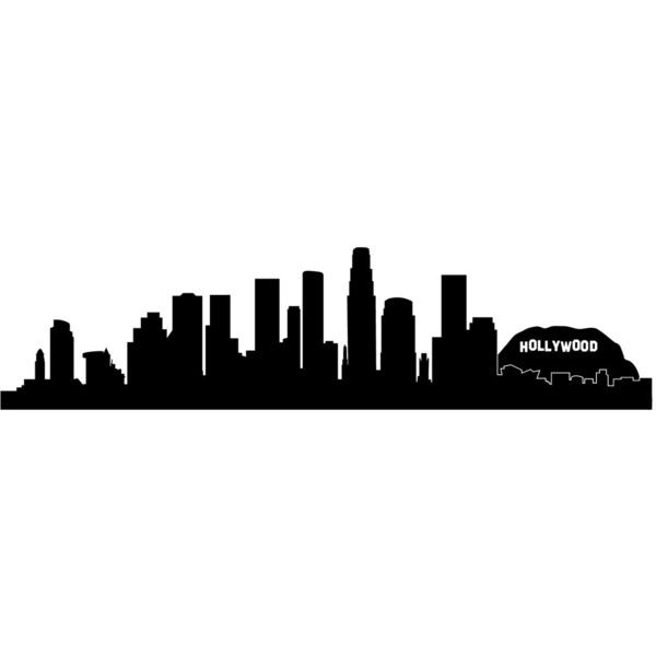 Los Angeles La Hollywood City Skyline Silhouette Wall Decal Custom... (€18) ❤ liked on Polyvore featuring filler