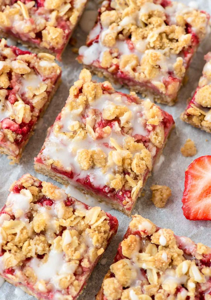 These easy Strawberry Oatmeal Bars, with a buttery crust, fresh strawberry filling, and sweet vanilla glaze make wonderful dessert bars to take to a party or potluck. Made with 100% whole grains, they healthy enough for an afternoon snack but sweet enough for dessert! @wellplated