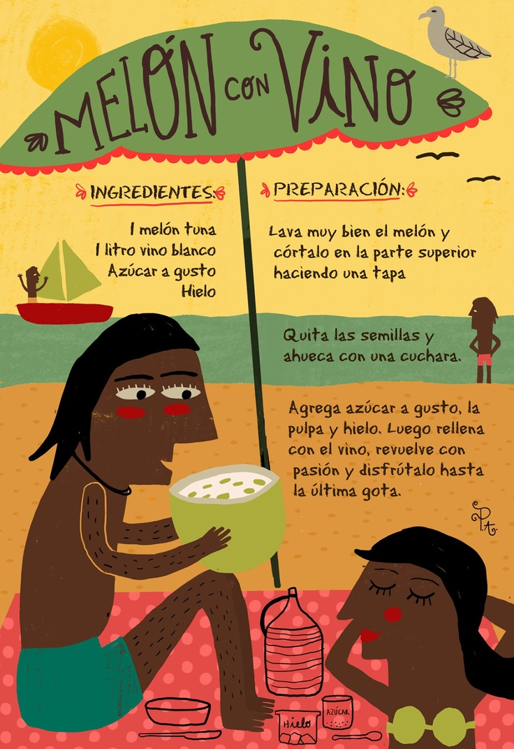 Melón con vino - Cositas ricas ilustradas por Pati Aguilera  http://cositasricasilustradas.blogspot.com.es/