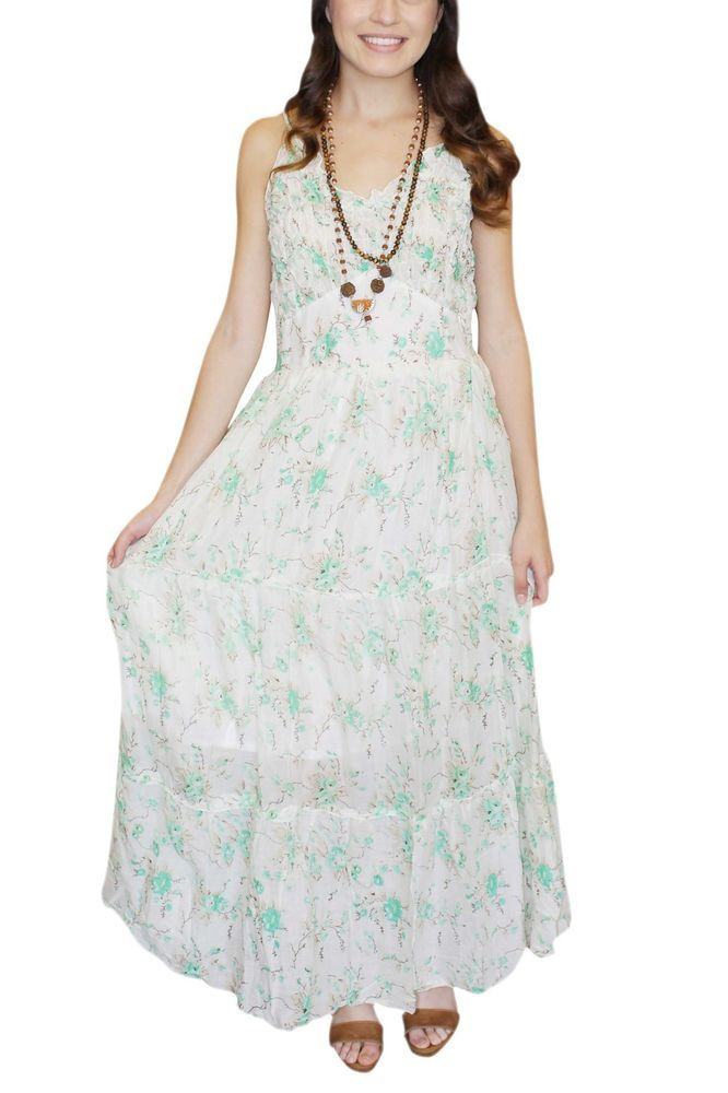 2a576ef15f Women Boho Beach Long Dress Shirred Waist Liner Slip White Maxi Dresses M   MogulInterior  SundressALineDressFitFlareDressMaxiDress  Casual