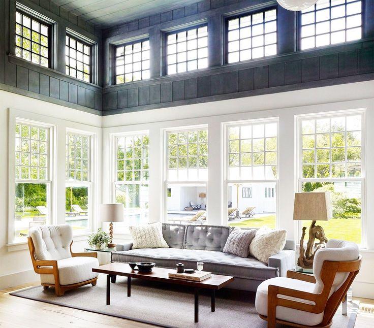 Hamptons Home with a Modern Twist - Two toned color block sun room. Farmhouse tall ceilings. Hamptons. Dan Scotti Design