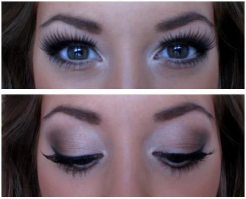 Look how much false lashes and highlighter can make your eyes look bigger. I'm pretty sure pinterest is turning in to my own makeup blog :)