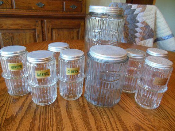 9 pc. Vintage Hoosier Cabinet Jar Jars by RuralConnection.Etsy.com
