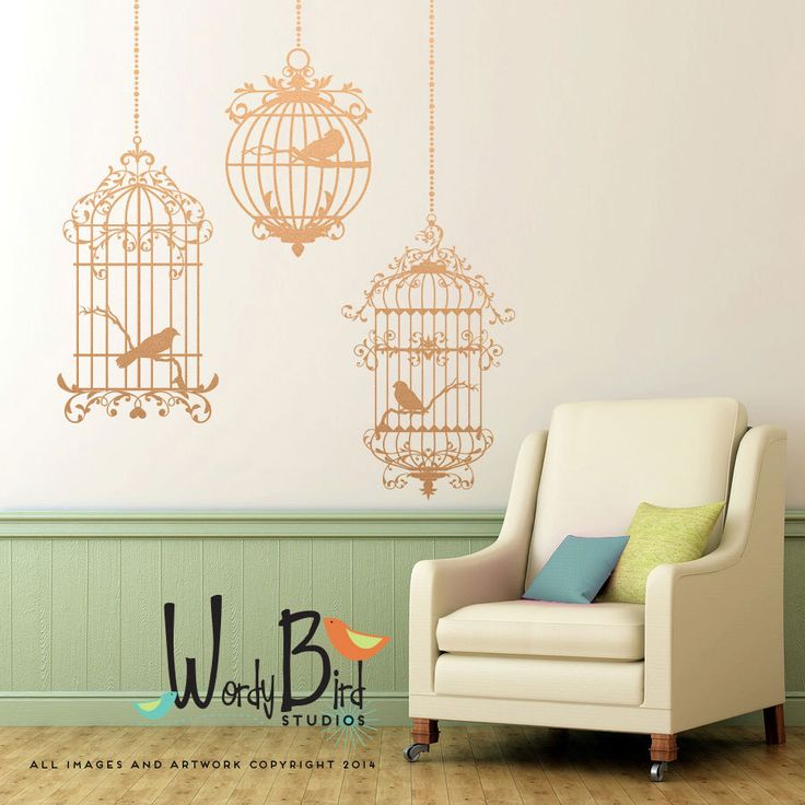 Birdcages wall decals - set of 3 cages with birds - Ornate Victorian Gothic Cottage style - metallic decals - WB735 by wordybirdstudios on Etsy https://www.etsy.com/listing/174750993/birdcages-wall-decals-set-of-3-cages