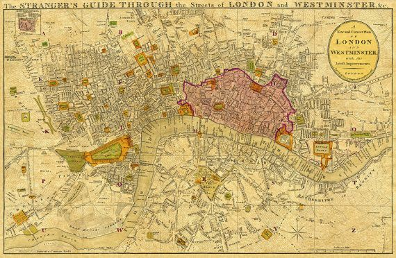 """Old map of London - Historic map of London - Print 21.5 x 33"""" on Etsy, $54.12 CAD"""