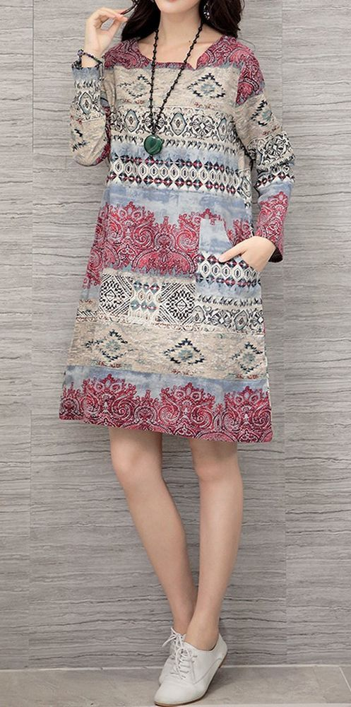 Women loose fit over size retro ethnic flower pocket dress long sleeves fashion #Unbranded #dress #Casual