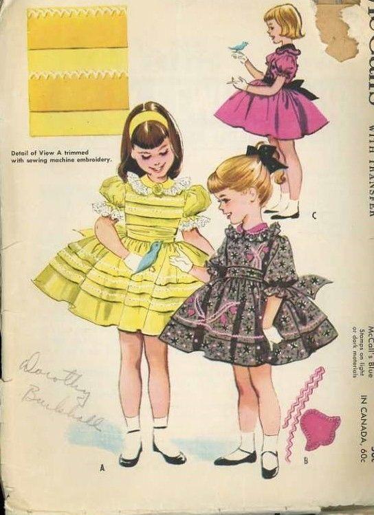 Vintage 1950 S Mccall S 2234 Toddler Girls Full Skirt