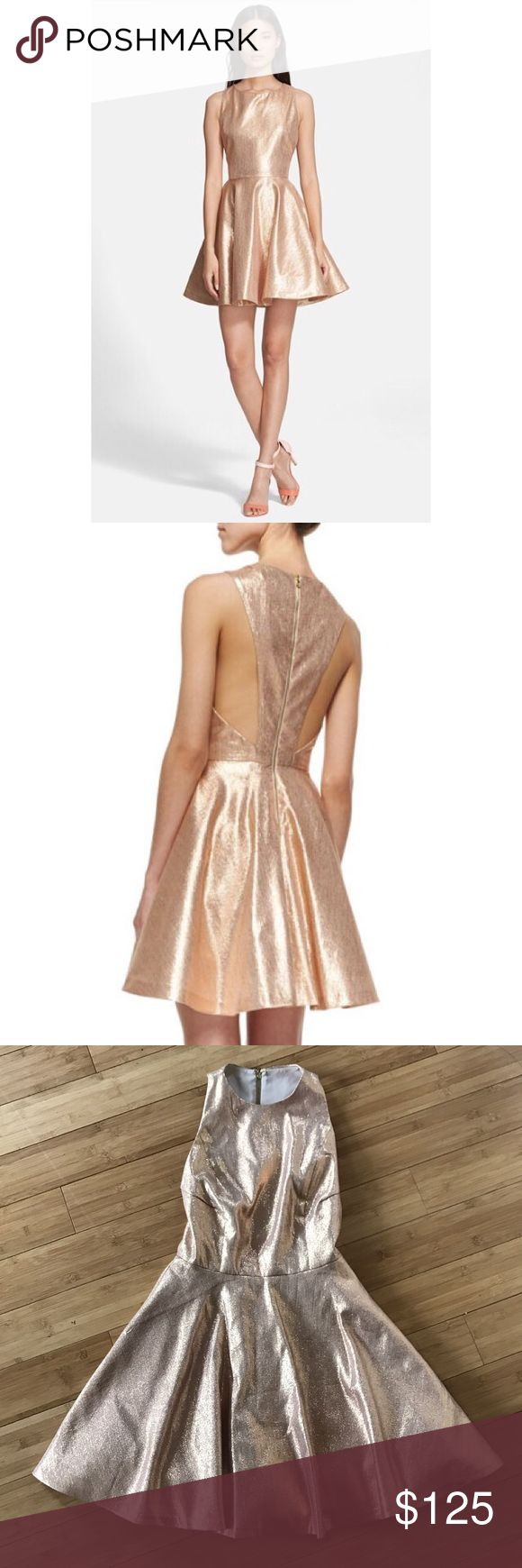 ROSE GOLD FOIT N FLARE DRESS This stunning silk and lurex Alice & Olivia Lia dress has a sexy back cut out and fits perfectly. There is a lining too! Perfect for summer weddings, birthdays or that special event....  Alice + Olivia Dresses