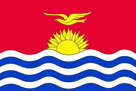 The flag of Kiribati was officially adopted on July 12, 1979.           The blue and white bands represent the surrounding Pacific Ocean. The frigate bird flying over the rising sun is taken from the coat of arms, and is said to symbolize strength and power at sea.