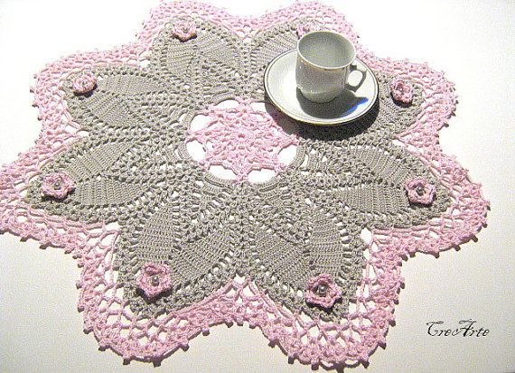 Crochet Doily Grey and Pink with flowers Large by CreArtebyPatty