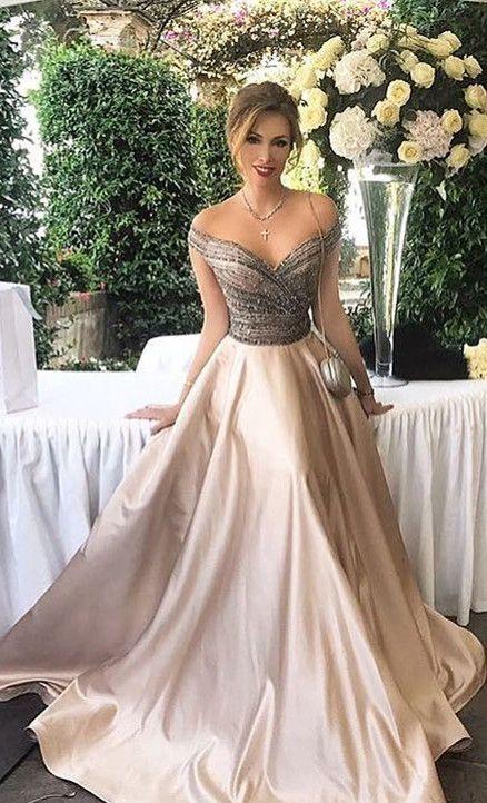 2018 prom dress, formal evening dress, off the shoulder champagne long prom dress, party dress, formal evening dress
