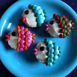 Muffins als vissen versieren