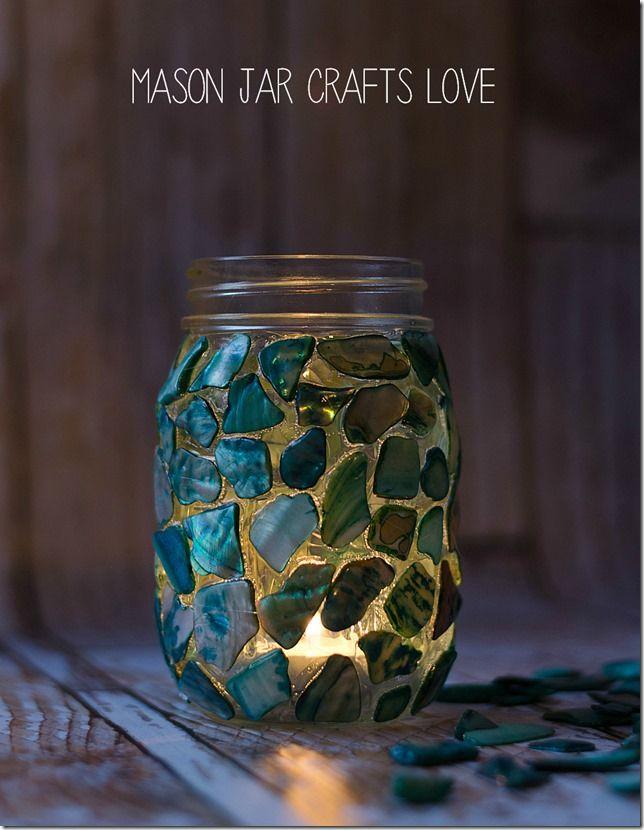 DIY mason jar mosaic craft