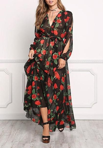 7c2bdce6153db Black Floral Draped Sashes Deep V-neck Plus Size Long Sleeve Maxi Dress