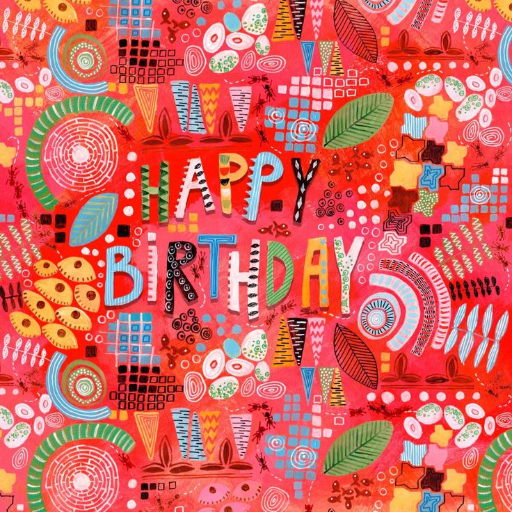Een prachtige handgeschilderde kaart met abstracte vormen en hand geschilderde letters voor een speciale jarige job!
