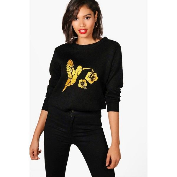 Boohoo Georgina Bird Embroidered Jumper ($13) ❤ liked on Polyvore featuring tops, sweaters, party jumpers, wrap top, sequin jumper, sequin sleeve top and wrap sweater
