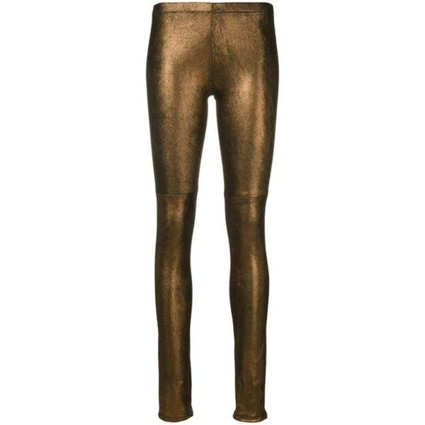 Bronze Esther Legging ($695) ❤ liked on Polyvore featuring pants, leggings, shiny leggings, stretch leggings, legging pants, wet look leggings and shiny stretch pants