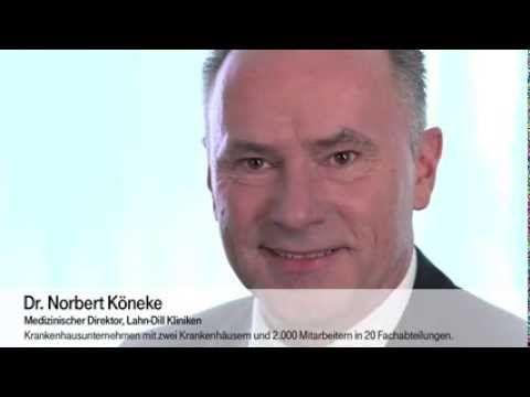 """Lahn-Dill-Kliniken: IT gibt Ärzten mehr Zeit für Patienten. Dr. Norbert Köneke, Medizinischer Direktor, Lahn-Dill-Kliniken: """"Als Krankenhausunternehmen an drei Standorten versorgen wir in mehr als 20 Fachabteilungen rund 40.000 stationäre und 100.000 ambulante Patienten im Jahr. Im Laufe der letzten 10 Jahre hat die IT an Bedeutung deutlich hinzugewonnen und ist aus den medizinischen Behandlungsprozessen nicht mehr wegzudenken. Web: http://www.t-systems.de"""