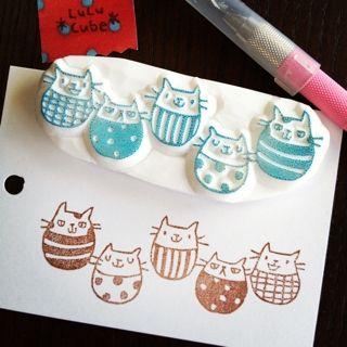 Soft kitty, pretty kitty, purr, purr, purr...消しゴムはんこ *LuLu Cube*