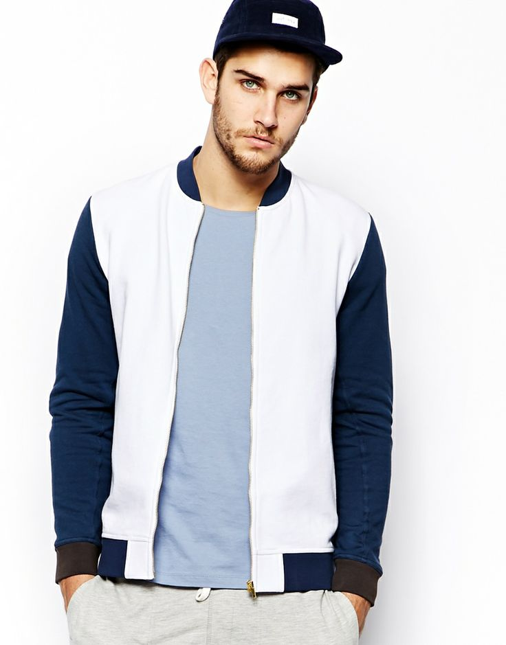 ASOS Bomber In Jersey With Contrast Trims