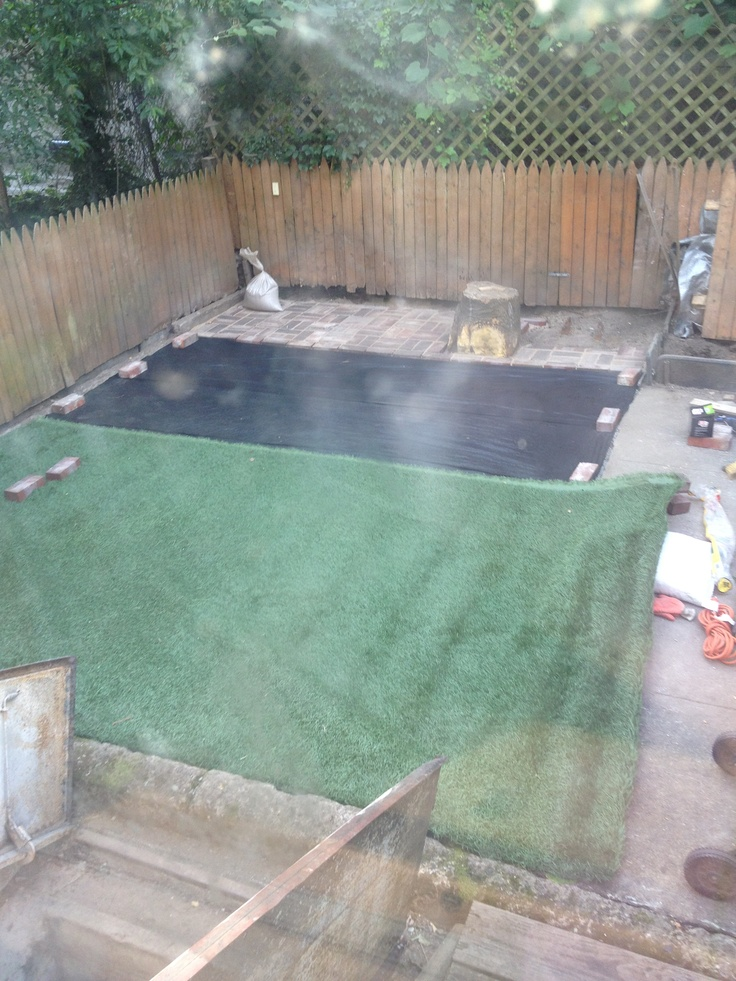 Installing Fake Grass Instead Of Concrete In The Yard. Step #2 Bottom Layer  1