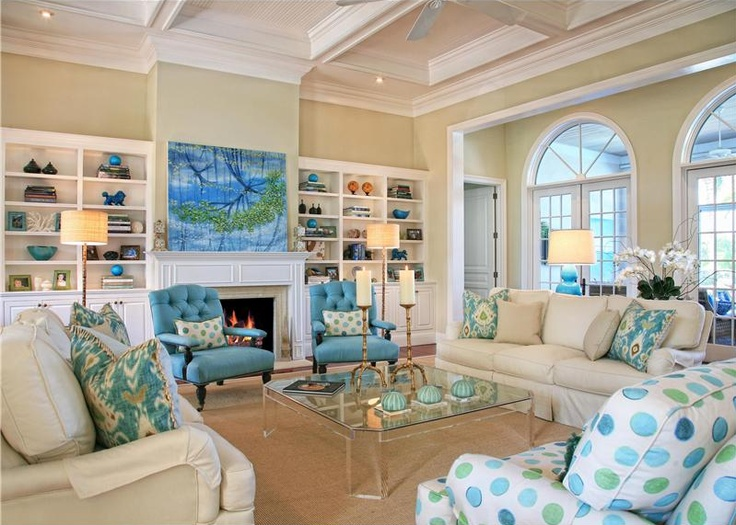 Hamptons style living room wanted costal living in iowa - Blue accent chairs for living room ...