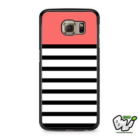 Black White Stripe Pastel Color Samsung Galaxy S6 Case