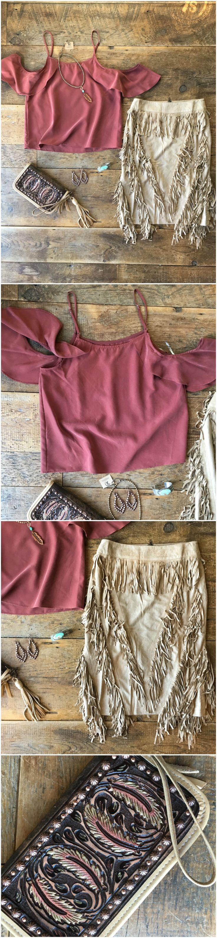 The Rockdale - Rust cold shoulder top with slight flowiness. Styled with The Rolette light buckskin fringe pencil skirt and the Crowley Clutch. Cowgirl style. Rodeo fashion. Women's Western Wear. Ranch style. Boho Cowgirl. NFR Style.