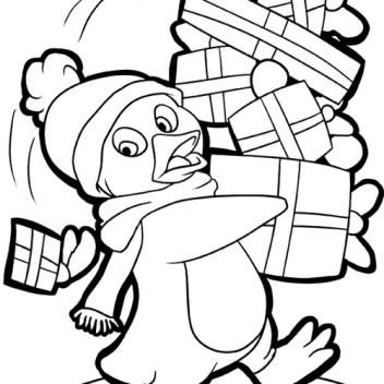 pictures penguin and gift coloring pages