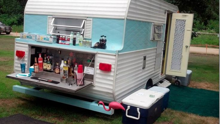 I love the bar.     Glamorous camping: Glamping is enjoying the outdoors with all the comforts of being at home