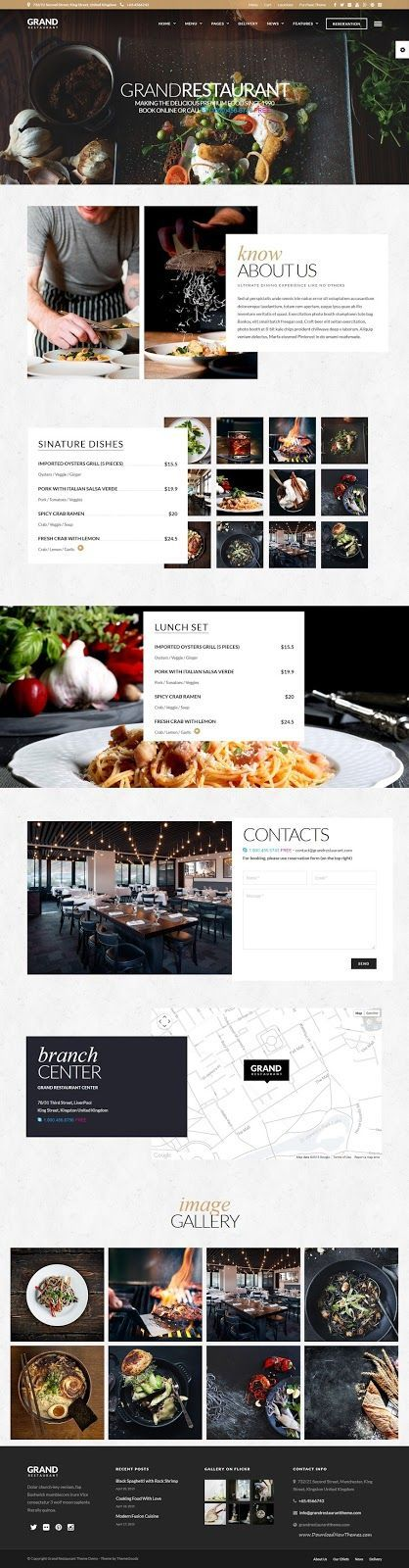 Grand Restaurant is a clean and modern #WordPress theme for #Cafe & #Restaurant and any food related business #website.