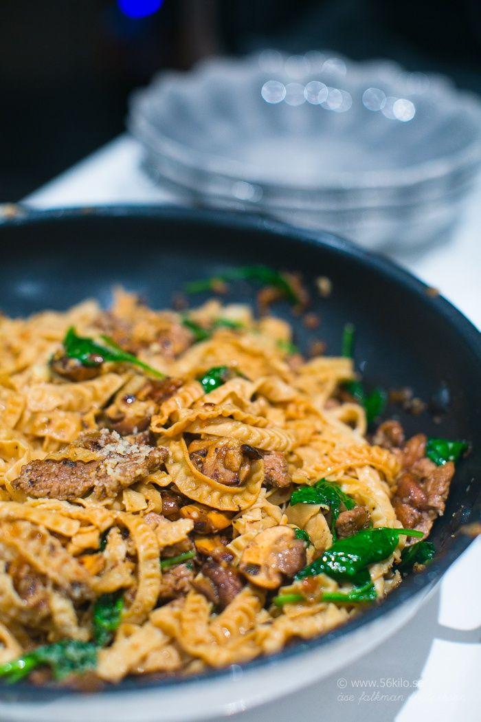 Bönpasta med oxfilé, parmesan och tryffelolja