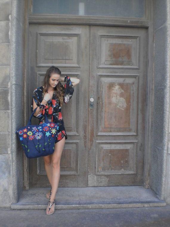 Hand embroidered Ladies designer handbag, Summer, beach bag, tote. Blue Burlap cotton bag with summer flowers, ladies handbag