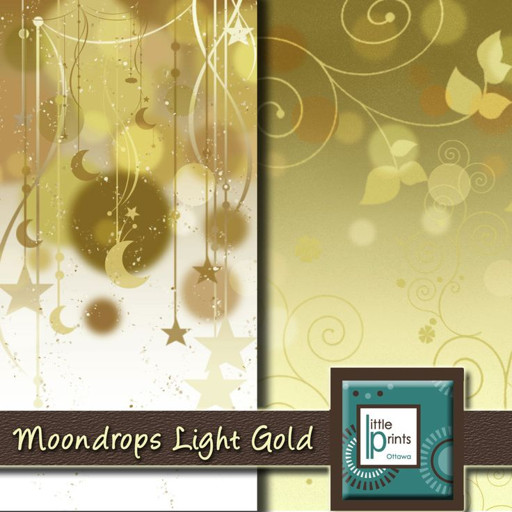 Digital Paper - Moondrops Light Gold, Digital scrapbook paper, printable moon and stars background - pinned by pin4etsy.com