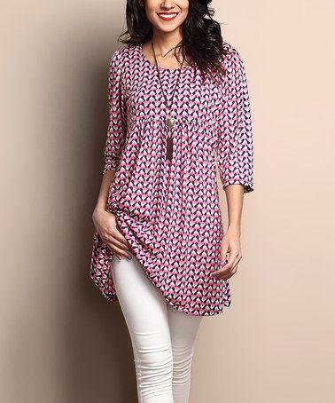 Another great find on #zulily! Pink Geo Empire-Waist Tunic Dress #zulilyfinds