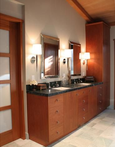 Bathroom Vanities, The Wholesale Bathroom Vanity Cabinets With Brown Color Bathroom Vanity That Has Two White Sinks And Black Color Top Bathroom Vanity With Three Lamps And Two Mirror With Silver Frame For Bathroom ~ One Of Kinds Bathroom Vanity Is The Wholesale Bathroom Vanity Cabinets Bathroom
