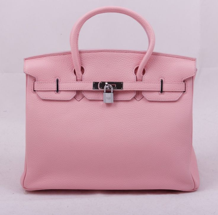 Сумка Hermes Birkin нежно-розового цвета с серебристой фурнитурой. Размер 35х25х18см #19433