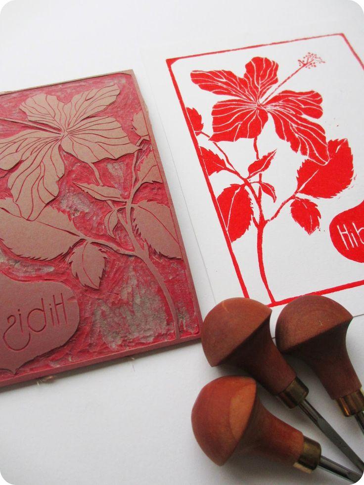 Linogravure #1 par *Tadaam! - Hibiscus