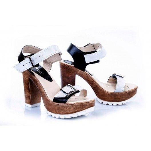 Dámske pohodlné kožené sandále bielo-čiernej farby - fashionday.eu