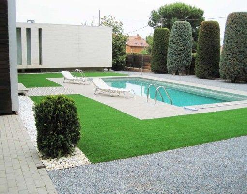 Piscina decorada con c sped artificial c sped artificial - Cesped artificial piscinas ...