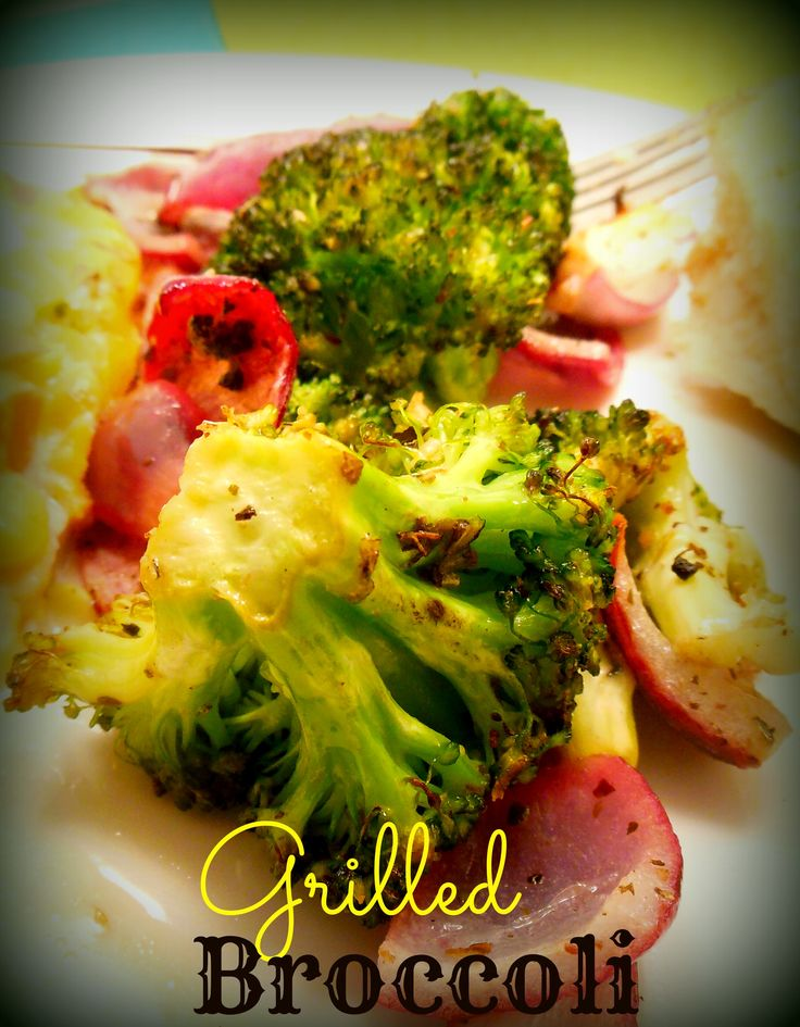 Marinated & Grilled Broccoli on MyRecipeMagic.com. Perfect with steak and chicken #grilled #broccoli #sidedish