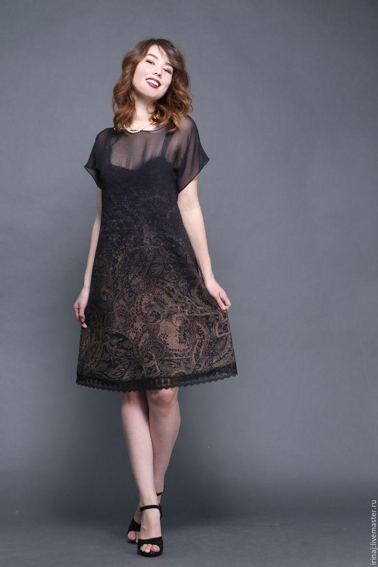 """Купить валяное платье """"Леди ночь"""" - авторское платье, платье, платье коктейльное, вечернее платье"""