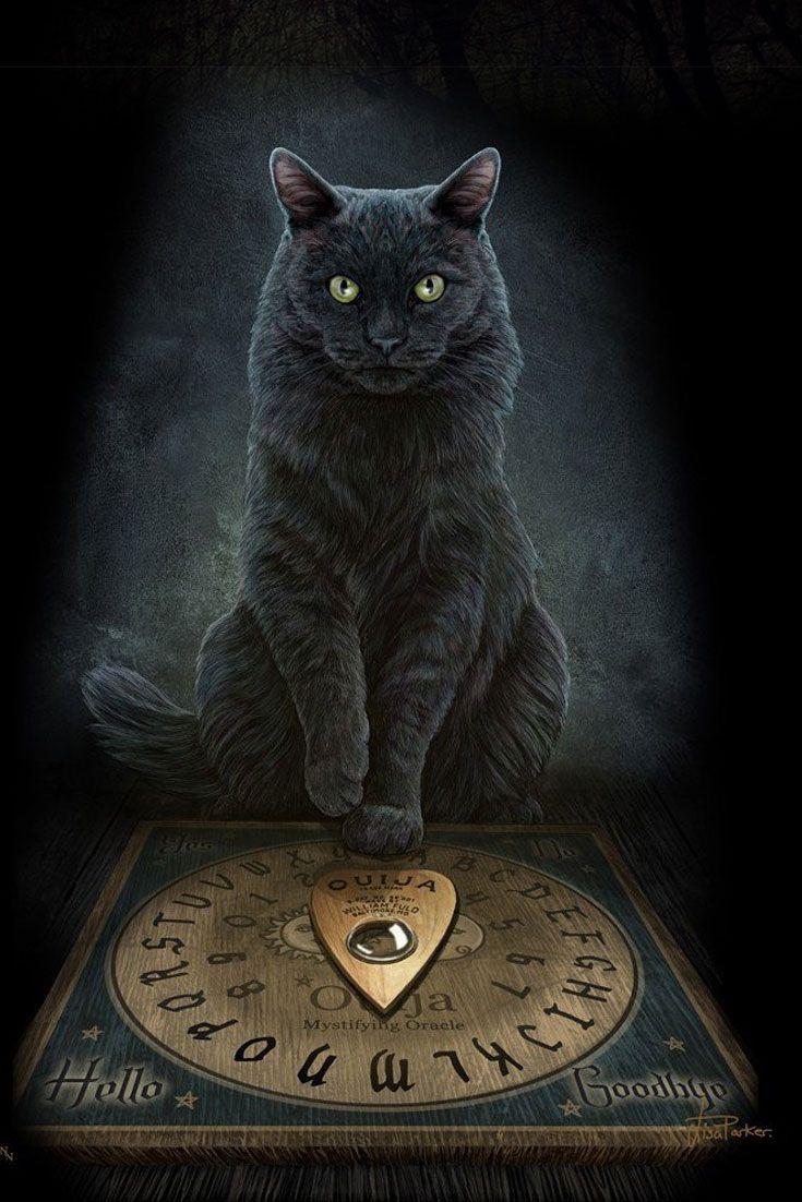 His Master's Voice. Die Stimme des Meisters kanalisiert diese mystische schwarze #Katze und empfängt die Stimmen aus dem Jenseits über ihr #Hexenbrett. Die britische Künstlerin Lisa Parker liebt es, die eleganten Stubentiger in magischen, fantastischen Kontexten darzustellen und dieses #3D Bild lässt ihre Vision sogar noch lebensechter wirken... #magie