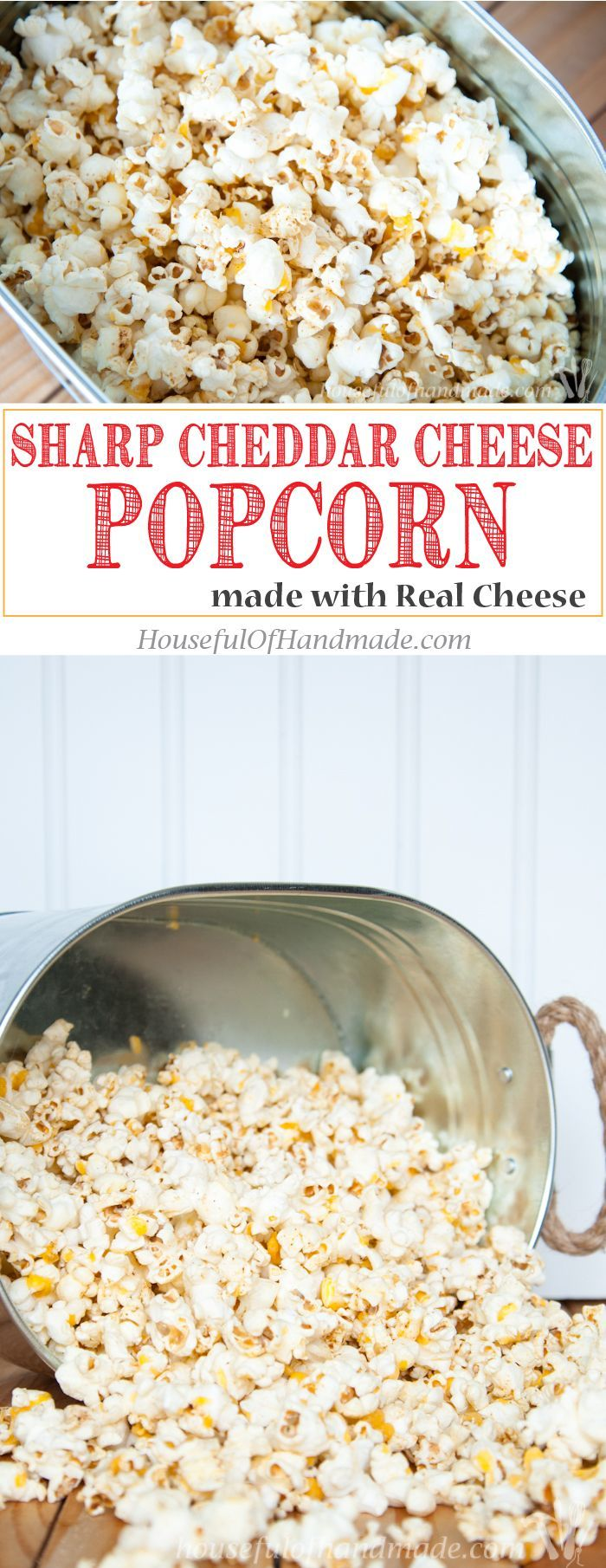 Make the most flavorful cheese popcorn without fake powdered cheese! This Sharp Cheddar Cheese Popcorn made from real cheese is easy and cheesy.   http://HousefulOfHandmade.com